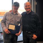 Cole Morse, Dick Anderson Construction employee, is recognized as he completes the construction apprenticeship program.