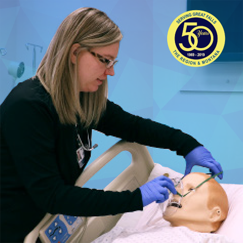 Student Suzie Morrison practicing Respiratory Therapy in the Sim Hospital
